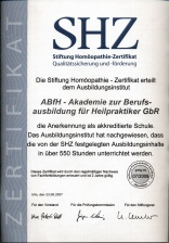 SHZ Zertifikat arche medica